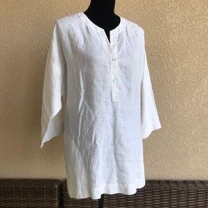 Eileen Fisher White Organic Linen Tunic Blouse Top
